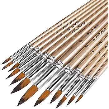 Yosoo 9pcs Nylon Hair Flat Pointed Tip Paint Brush Set Artists Acrylic Watercolor Paintbrushes Painting Supplies
