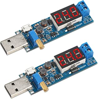 USB Input Regulator, DROK 2pcs DC 3.5V-12V to 1.2V-24V Buck Boost Converter Board, 3.3V 5V 9V Adjustable Output Power Supp...