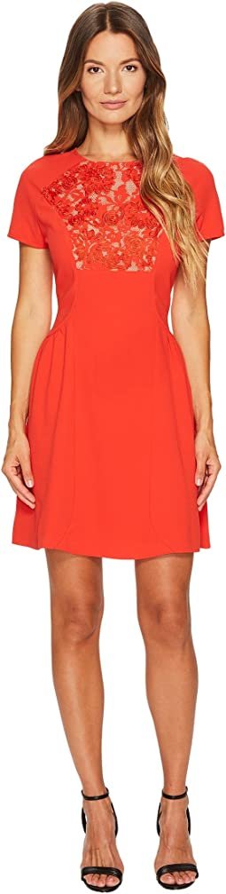 The Kooples - Short Sleeve Dress with Front Lace Yoke
