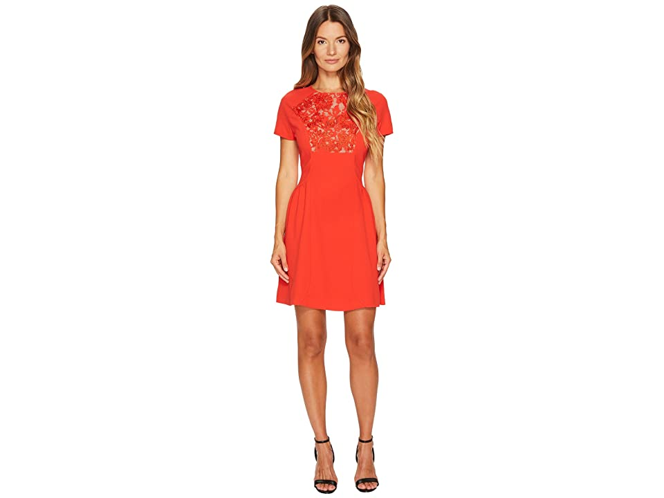 The Kooples Short Sleeve Dress with Front Lace Yoke (Red) Women