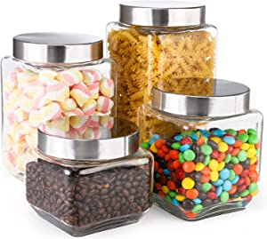 Cedilis 4 Pack Square Glass Canister with Screw-on Lids, Large Glass Food Storage Containers, Airtight Clear Jars for Flour, Sugar, Coffee, Tea, Spices and Herbs, 71oz, 57oz, 41oz, 27oz