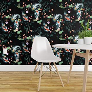 Spoonflower Peel and Stick Removable Wallpaper, Koi Fish Chinoiserie Floral Japanese Garden Black Flowers Print, Self-Adhesive Wallpaper 24in x 144in Roll