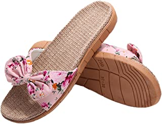 49b8f5d9ec82 xsby Womens Cozy Indoor Cotton Flax Home Slippers Non-Slip Casual Sandals