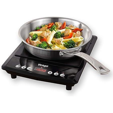 Venga! VG IKP 3000 Plaque à induction portable à 1zone de cuisson, avec contrôle numérique et fonction minuterie, 2000W, Noir