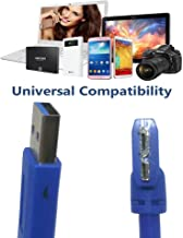 USB 3.0 Type A Male to Micro B Male Right Angle 24/28AWG Cable (1 Feet, Blue) (USB3.0 AM / Micro BM Right Angle)