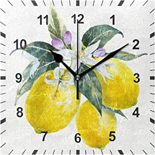 OREZI Watercolor Lemons with Flowers Wall Clock Art Decor for The Kitchen,Living Room,Bedroom,Office,School