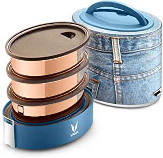 Vaya Tyffyn Copper-Finished Stainless Steel Lunch Box without Bagmat, 1000 ml, 3 Containers, Denim