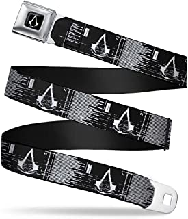 """Buckle-Down Seatbelt Belt - Assassin's Crest/Screen Gltich Black/White - 1.0"""" Wide - 20-36 Inches in Length"""