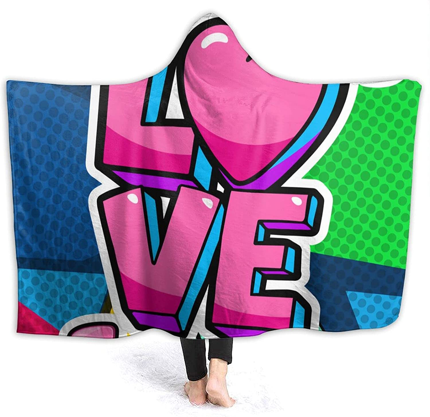 AUISS Wearable lowest Nashville-Davidson Mall price Blanket Love Heart Hooded Cape S Cloak Throw Wrap
