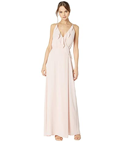 WAYF The Jamie Lace-Up Back Ruffle Cross Front Gown (Ballet Pink) Women