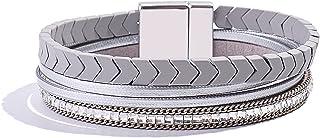 FANCY SHINY Hematite Leather Wrap Bracelets Beaded Healing Stone Cuff Bracelet Rhinestone Boho Jewelry Gift for Women with...
