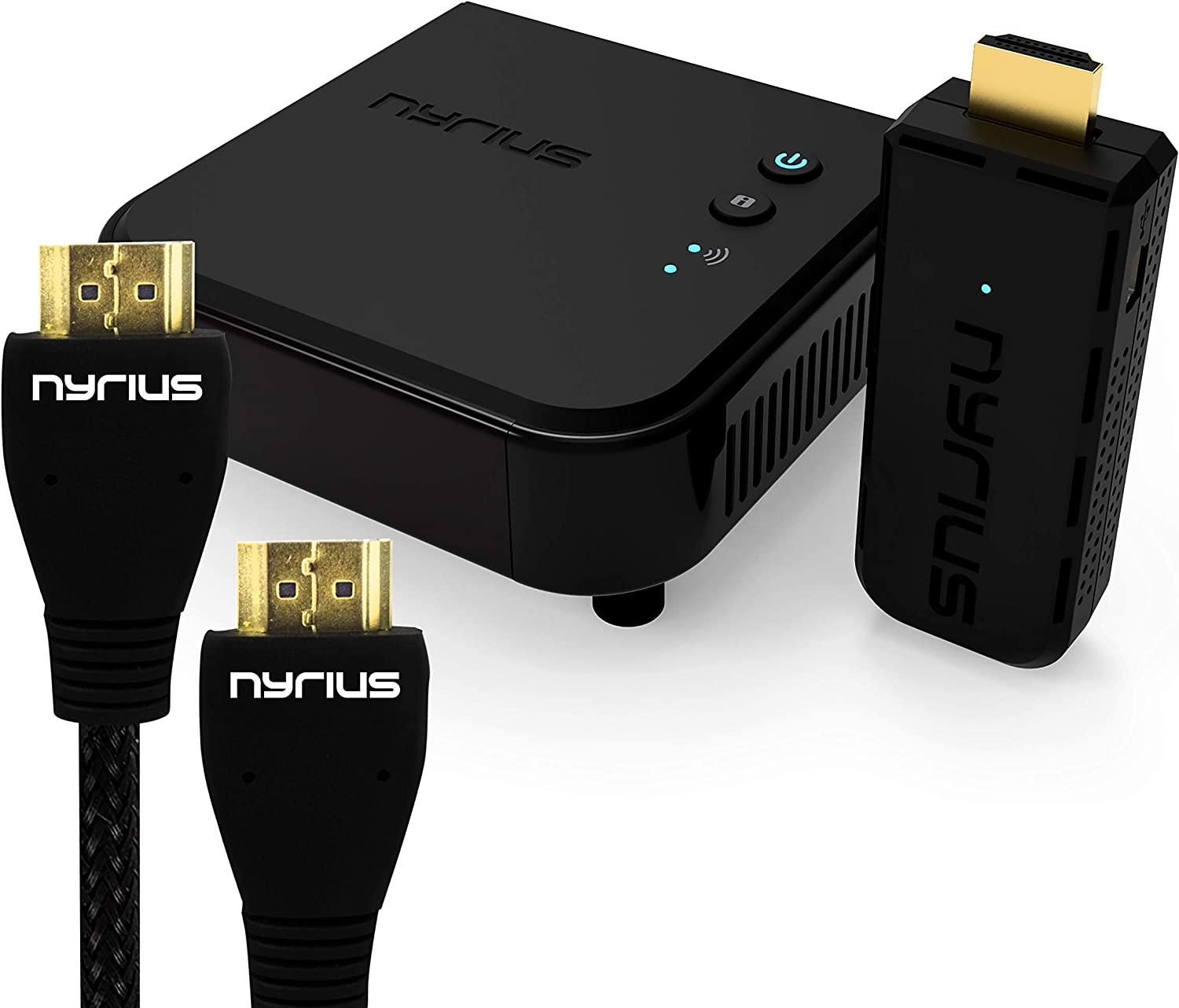 Nyrius Aries Pro Wireless HDMI Transmitter & Receiver to Stream HD 1080p 3D Video from Laptop, PC, Cable, Netflix, YouTube, PS4, Drones, Pro Camera, to HDTV/Projector & Bonus HDMI Cable