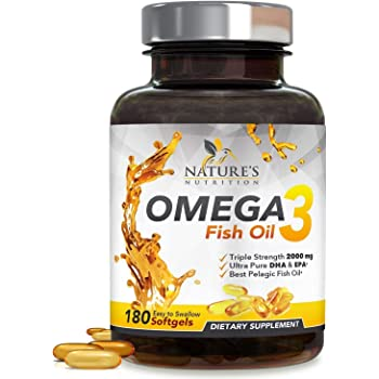 Omega 3 Fish Oil Supplement, Triple Strength 2400mg High Epa and Dha, Made in USA, Natural Heart and Brain Support for Men and Women, Non GMO, Lemon Flavor - 180 Softgels