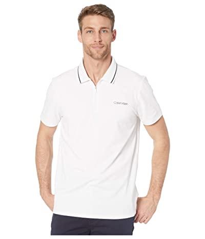 Calvin Klein Move 365 Short Sleeve Zip Polo Quick Dry, Moisture Wicking Quick Dry Features (Brilliant White Combo) Men