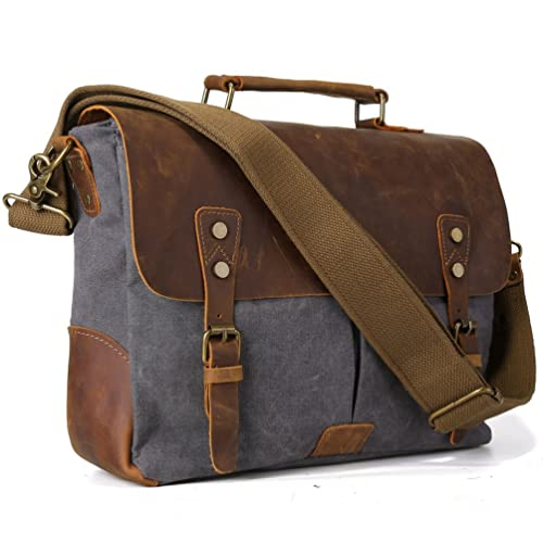 ffa3a6b2a2eb TIDING Men s Canvas Messenger Tote Bags Work Laptop Bag Leather Briefcase Cross  Body Shoulder Bag For