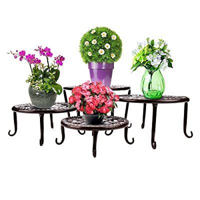 Metal Plants Stand Flowerpot Holder Iron Art Po...