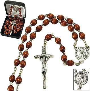 Pope John Paul II, Crucifix with Brown Beads Metal 19.5-Inch Catholic Pendant Rosary