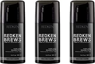 Redken Brews Work Hard Molding Paste For Men, 3.4 Fl Oz, 3 Count
