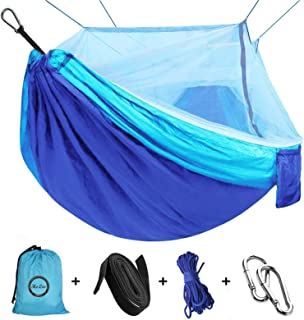 Camping Hammock with Net Mosquito, Parachute Fabric Camping Hammock Portable Nylon Hammock for Backpacking Camping Travel,...