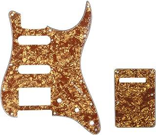 Musiclily HSS Set de Pickguard Golpeador y Placa Trasera Strat para Fender American/México Standard Stratocaster Estilo Moderno, 4 capas Bronze Pearl