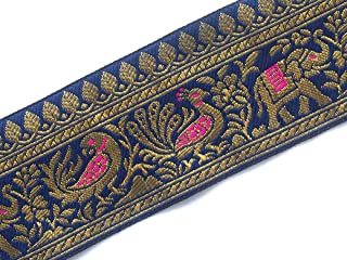 Indian Animal Motif Indian Jacquard Lace Trim in Navy and Gold 3 Yards by Craftbot