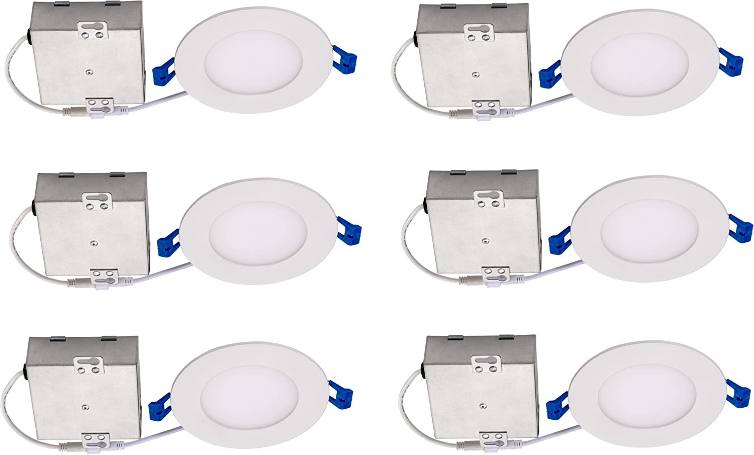 Topaz Lighting (Pack of 6) 77229 9W Slim 4  Dimmable Recessed Ceiling Downlight, 3000K, White, Easy to Install, Save Time and Money, Energy Efficient LED Lighting