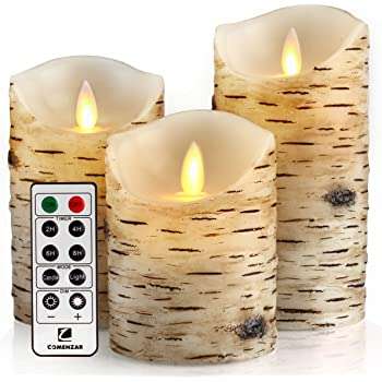"""comenzar Flickering Candles, Candles Birch Set of 4 5"""" 6"""" Birch Bark Battery Candles Real Wax Pillar with Remote Timer"""