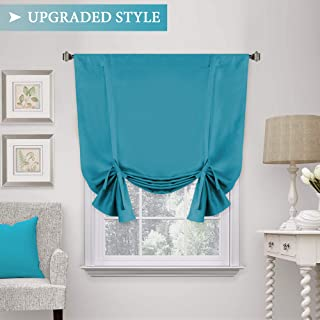 H.VERSAILTEX Blackout Tie Up Curtain, Energy Efficient Window Shades - Adjustable Height Rod Pocket Panel for Bedroom/Living Room (Turquoise Blue, 42W x 63L, Set of 1)