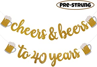 Faisichocalato Cheers & Beers to 40 Years Gold Glitter Banner for 40th Birthday Wedding Anniversary Party Decorations Pre Strung & Ready to Hang, Beer Party Decorations