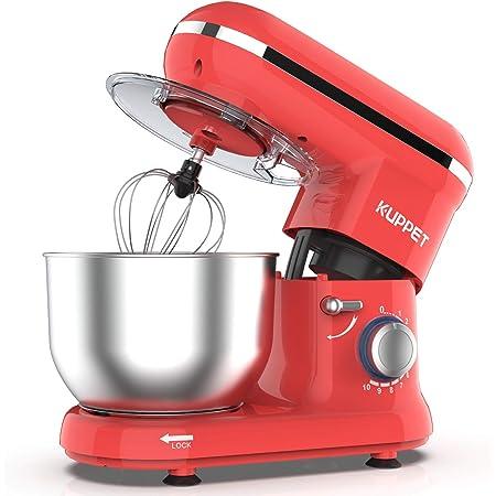 KUPPET Robot Pâtissier 1300W,Robot Pâtissier avec Bol d'Acier Inox 4,5L, à 10 vitesses Robot Pétrinavec Fouet à Fils,Batteur, Crochet, (Rouge)