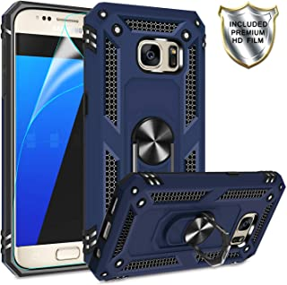 Galaxy S7 Phone Case, Galaxy S7 Case with HD Screen Protector,Gritup 360 Degree Rotating Metal Ring Holder Kickstand Armor Anti-Scratch Bracket Cover Phone Case for Samsung Galaxy S7 Blue