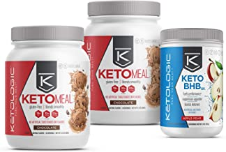 KetoLogic Keto 30 Challenge Bundle, 30-Day Supply   Includes 2 Meal Replacement Shakes with MCT [Chocolate] & 1 BHB Salt [Apple-Pear]   Suppresses Appetite, Promotes Weight Loss & Increases Energy