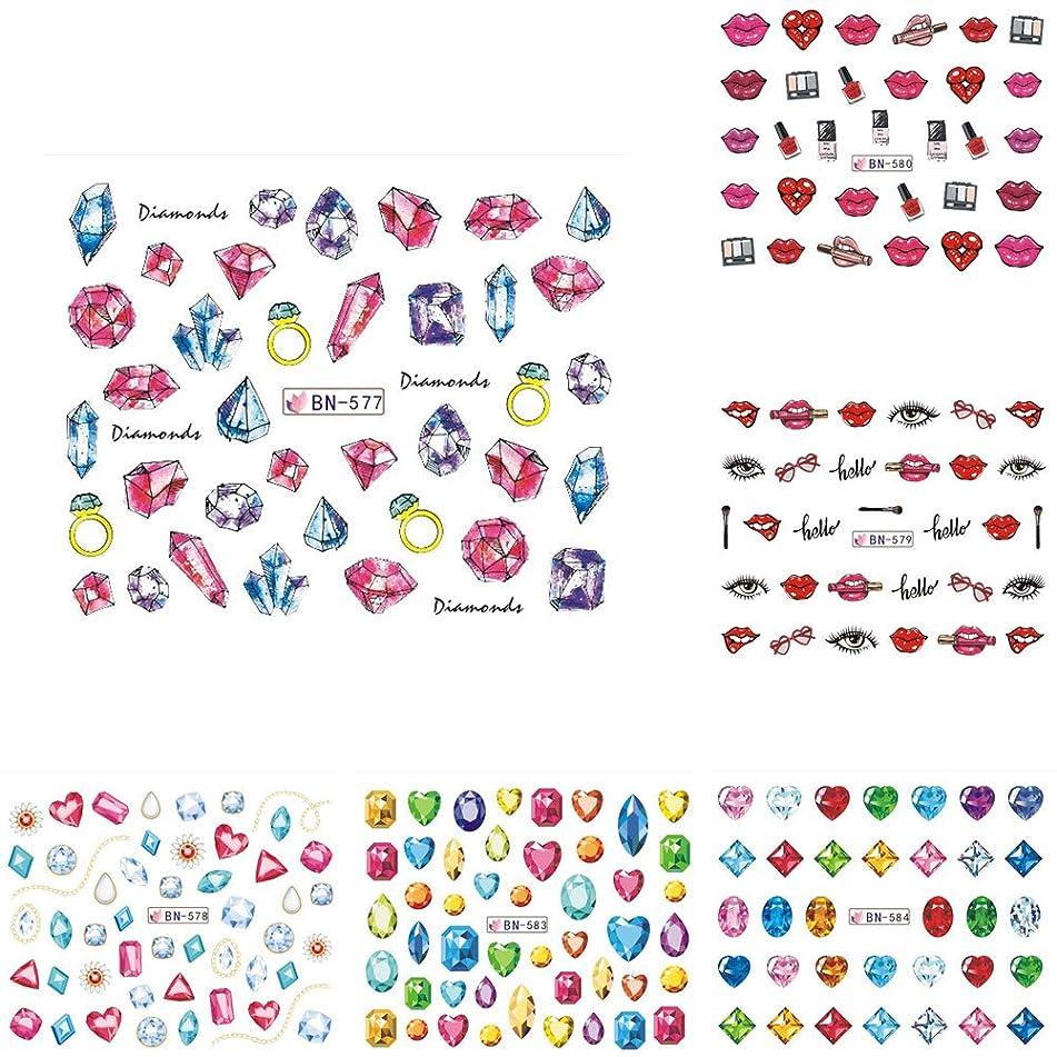 xxiaoTHAWxe 12 Sheets Diamond Lips Nail Art DIY Stickers Manicure Water Transfer Decal Decor
