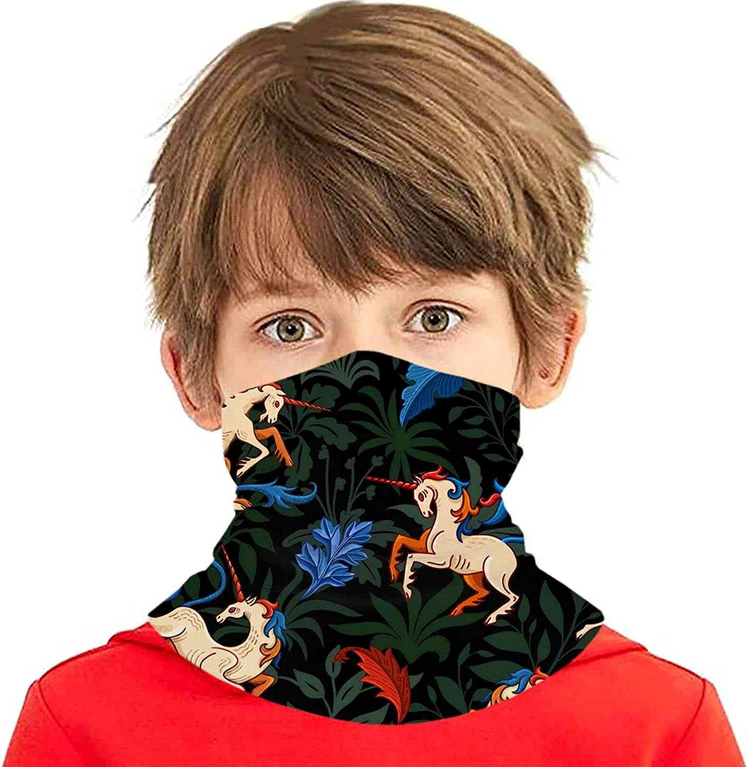 Fantasy Max 65% OFF horse herbal pattern Kids Face Mask Washable Neck Gaiter High quality