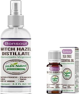 BONSOUL Natural Alcohol Free Witch Hazel Distillate, Organic Tea Tree Essential Oil Combo (100 ML + 10 ML)