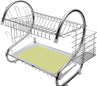 Stainless Steel 2-Tier Dish Drainer Rack Yellow Chevron Kitchen Drying Drip Tray Cutlery Holder Zigzag Lines in Horizontal Direction Retro Style Display,Yellow Sky Blue Charcoal Grey,Storage Space Sav