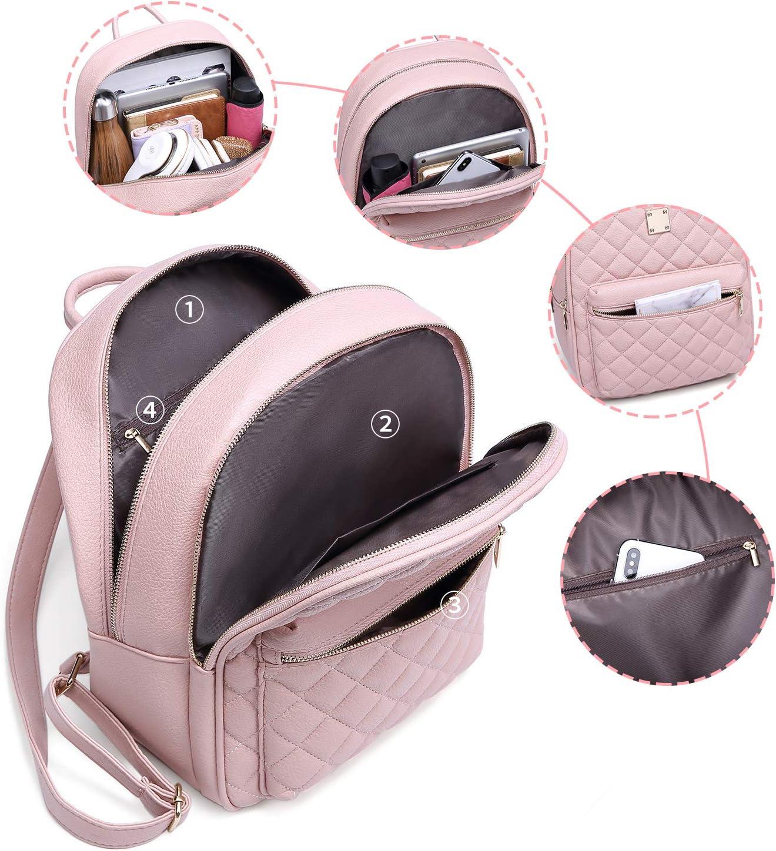 Women Backpack Myhozee Fashion Rucksack Ladies Lightweight Leather PU Daypack School Travel Small Backpack Handbag for Girls Teenager Pink