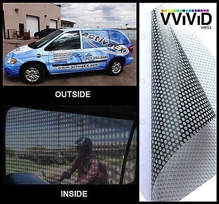 Vvivid One Way Perforierte Fensterfolie Aus Vinyl Für Privatsphäre Rolle Aufkleber Diy Einfach Zu Bedienen Luftablass Kleber 30 X 137 Cm Küche Haushalt