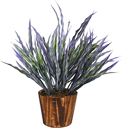 Fancy Mart Artificial Bamboo Grass in Round Wood Pot (35 cms / 14 inchs)