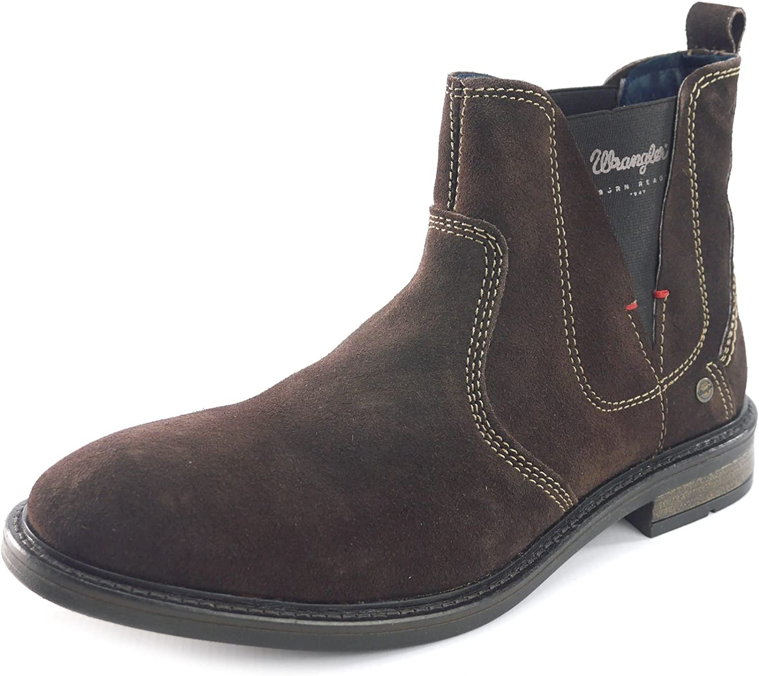 Wrangler Roll Chelsea Mens Ankle Suede Leather Brown Pull On Boots
