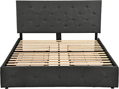 SHA CERLIN Upholstered Queen Size Platform Bed Frame with 4 Storage Drawers, Adjustable Headboard with Diamond Stitched Butto