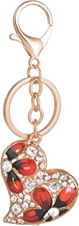 Giftale Red Heart Keychain for Women Cute Bag Charms Crystal Rhinestone Pendant Car Key Ring