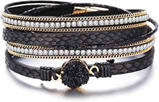 FINETOO Black Multi-Layer Leather Wrap Bracelet Handmade Braided with Magnetic Buckle Cuff Bangle Bracelets for Women Gifts