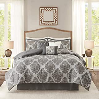 HNU 7 Piece King All Seasons Transitional Hypoallergenic All Over Jacquard Damask Geometric Pattern Year Round Warm Comforter Luxe Geo Bedding Set, Glam Luxury Bedskirt Included Grey Comforter Set