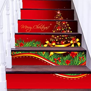zhiyu&art decor Christmas 3D Stair Stickers Decals-6Pcs/Set Christmas Tree Stair Risers Stickers Decals Removable Staircase Decals Waterproof Wall Stickers for Stairs Decoration
