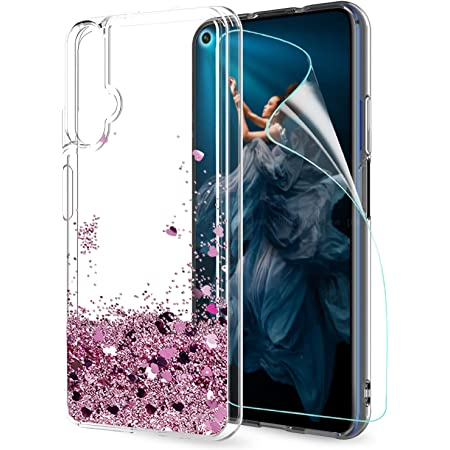 LeYi Cover Huawei Nova 5T / Honor 20 Glitter Custodia con HD Pellicola, Brillantini Silicone Liquido Sabbie Mobili Bumper TPU Case per Custodie Huawei ...