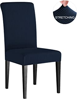 Subrtex Dining Room Chair Slipcovers Sets Stretch Furniture Protector Covers for Armchair Removable Washable Elastic Parsons Seat Case for Restaurant Hotel Ceremony(4 Pieces, Navy Checks)
