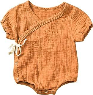 Haokaini Neugeborenes Baby Baumwolle Leinen Kimono Strampler, chinesische lässig Reine Trainingsanzug Pyjamas für Mädchen Jungen