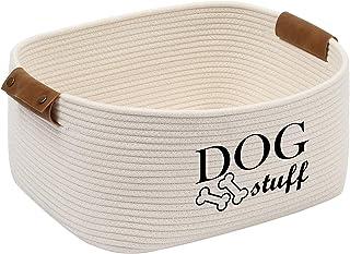 Morezi Panier de rangement en corde de coton, boîte à jouets pour chien, adapté à l'organisation de vêtements pour chiens,...