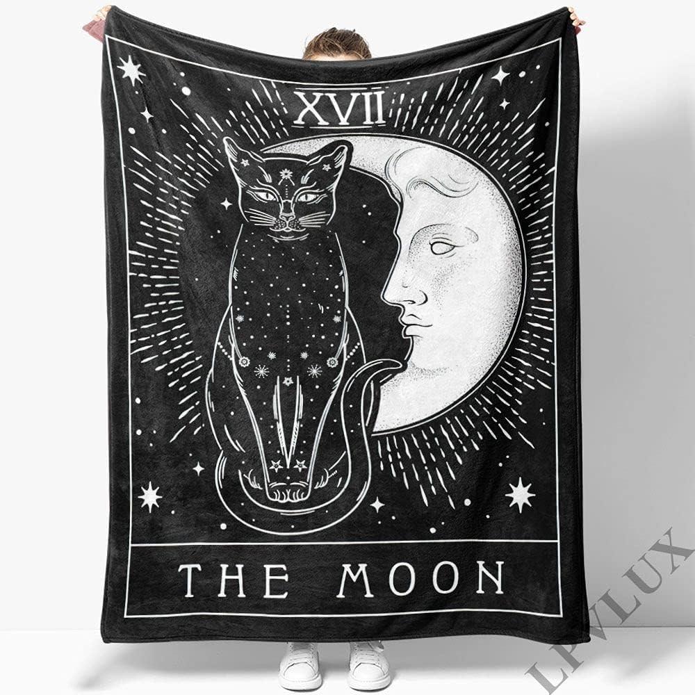 GANTEE Moon and Cat New arrival Graphic Super Soft Fleece Blanket Max 88% OFF Cozy P